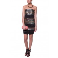 STRAPLESS GEOMETRIC EMBROIDERE DRESS