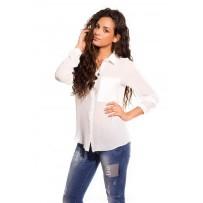 Camisa blanca con bolsillos