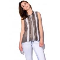 Camisa con panel bordado de lentejuela