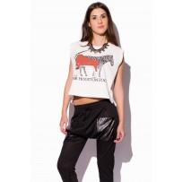 Camiseta corta blanca estampado zoo