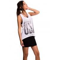 Camiseta de tirantes blanca estampado usa