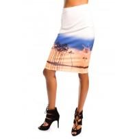 Falda de tubo con estampado palmeras