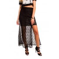 Falda larga negra de crochet zig zag
