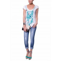 JEWEL SCOOP NECKLINE TEE