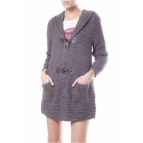 KNITTED HOOD POCKETS CARDIGAN